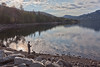 Fly Fisherman and Early Morning Cloud Reflections, Caples Lake CA